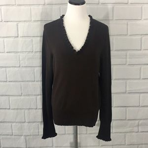 CHAUS Dark Chocolate Brown Sweater, Medium